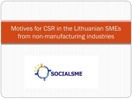 Motives for CSR in the Lithuanian SMEs from non-manufacturing industries.