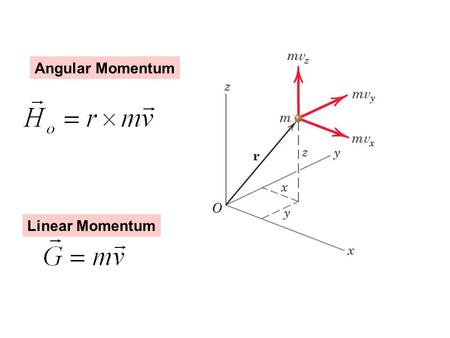 Angular Momentum Linear Momentum. Always work from Principle! Ex: Work of gravity Principle: dW = F * ds Here: dW = - mg * dy mg y.