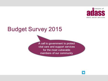 Budget Survey 2015 A call to government to protect vital care and support services for the most vulnerable members of our community.