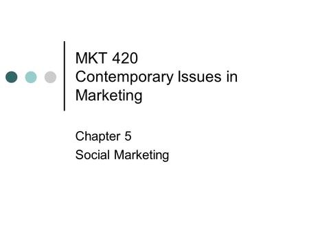 MKT 420 Contemporary Issues in Marketing Chapter 5 Social Marketing.