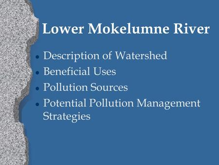 Lower Mokelumne River l Description of Watershed l Beneficial Uses l Pollution Sources l Potential Pollution Management Strategies.