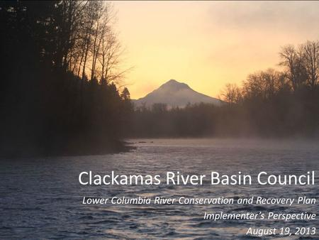 Clackamas River Basin Council Lower Columbia River Conservation and Recovery Plan Implementer's Perspective August 19, 2013.
