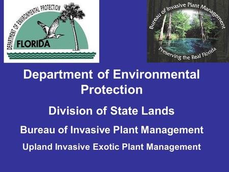 Department of Environmental Protection Division of State Lands Bureau of Invasive Plant Management Upland Invasive Exotic Plant Management.