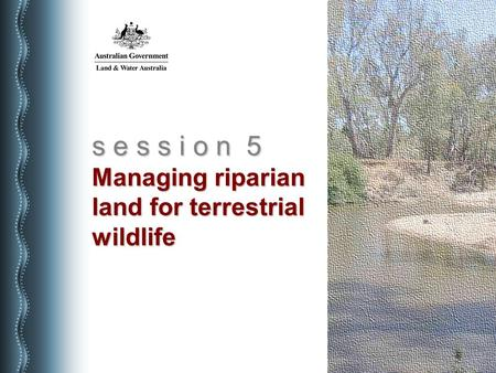 S e s s i o n 5 Managing riparian land for terrestrial wildlife.