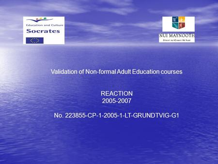 Validation of Non-formal Adult Education courses REACTION 2005-2007 No. 223855-CP-1-2005-1-LT-GRUNDTVIG-G1.