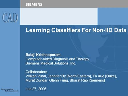 Learning Classifiers For Non-IID Data