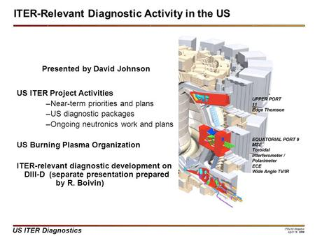 US ITER Diagnostics ITPA10 Moscow April 13, 2006 Presented by David Johnson US ITER Project Activities –Near-term priorities and plans –US diagnostic packages.