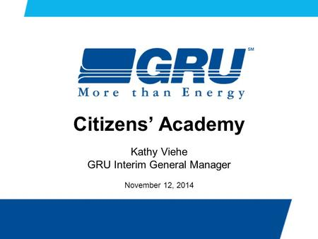 Citizens' Academy Kathy Viehe GRU Interim General Manager November 12, 2014.