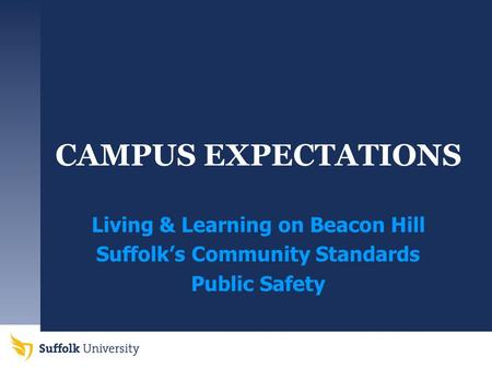 CAMPUS EXPECTATIONS Living & Learning on Beacon Hill Suffolk's Community Standards Public Safety.