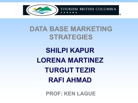 SHILPI KAPUR LORENA MARTINEZ TURGUT TEZIR RAFI AHMAD DATA BASE MARKETING STRATEGIES PROF: KEN LAGUE.