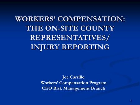 WORKERS' COMPENSATION: THE ON-SITE COUNTY REPRESENTATIVES/ INJURY REPORTING 1 Joe Carrillo Workers' Compensation Program CEO Risk Management Branch.