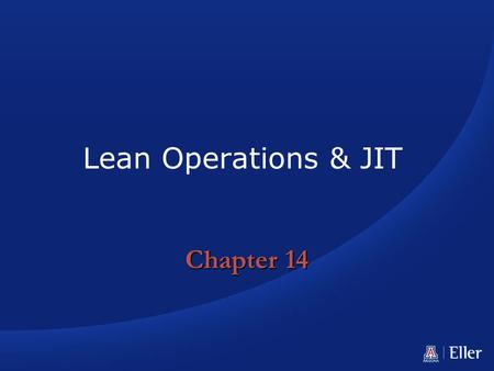 Lean Operations & JIT Chapter 14.