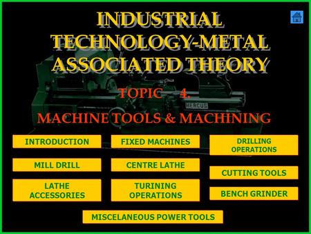 INDUSTRIAL TECHNOLOGY-METAL ASSOCIATED THEORY TOPIC4. MACHINE TOOLS & MACHINING INTRODUCTIONFIXED MACHINES DRILLING OPERATIONS LATHE ACCESSORIES TURINING.