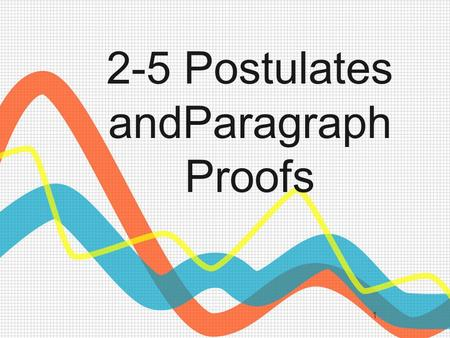 1 2-5 Postulates andParagraph Proofs. 2 What is a Postulate? A Postulate or axiom is a statement that is accepted as fact.