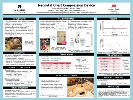 Neonatal Chest Compression Device Courtney Gallagher 1, Jillian Zeber 1 Advisors: Paul King 1, PhD; William Walsh 2, MD Vanderbilt University, Biomedical.