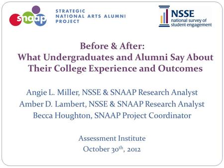 Before & After: What Undergraduates and Alumni Say About Their College Experience and Outcomes Angie L. Miller, NSSE & SNAAP Research Analyst Amber D.