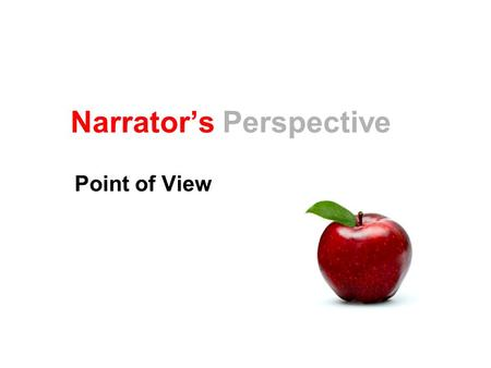 Narrator's Perspective Point of View. Narrator The one who tells the story Characters Everyone else in the story What's the narrator's position in the.