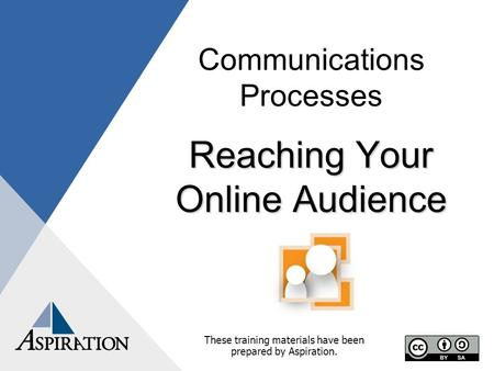 Communications Processes Reaching Your Online Audience These training materials have been prepared by Aspiration.