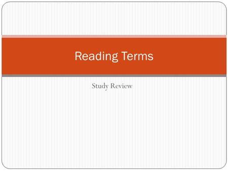 Study Review Reading Terms. Genres Biography? The story of a person's life as told by someone other than the person. Click Here.