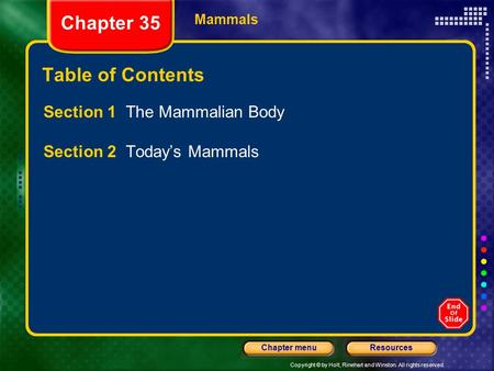 Chapter 35 Table of Contents Section 1 The Mammalian Body