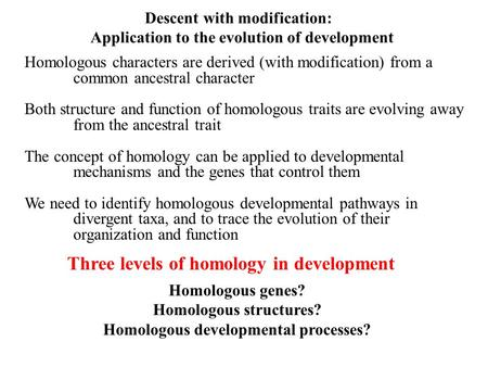 Descent with modification: Application to the evolution of development Homologous characters are derived (with modification) from a common ancestral character.