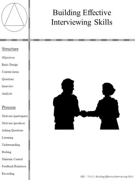 OB1 - 70-311: Building Effective Interviewing Skills Building Effective Interviewing Skills Structure Objectives Basic Design Content Areas Questions Interview.