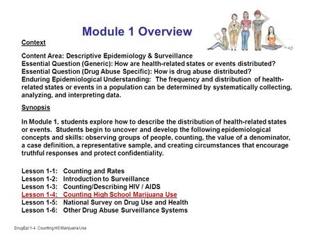 DrugEpi 1-4 Counting HS Marijuana Use Module 1 Overview Context Content Area: Descriptive Epidemiology & Surveillance Essential Question (Generic): How.