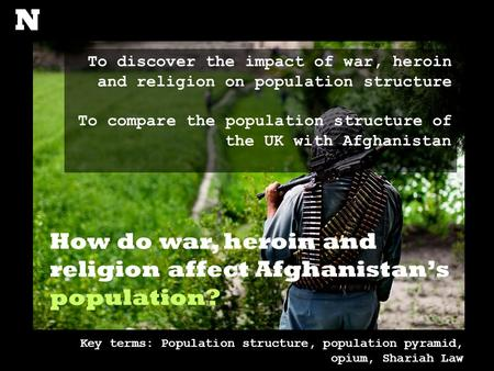How do war, heroin and religion affect Afghanistan's population? To discover the impact of war, heroin and religion on population structure To compare.