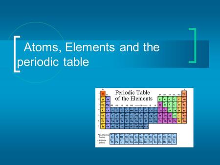 Atoms, Elements and the periodic table Matter All matter is composed of atoms and groups of atoms bonded together, called molecules.  Substances that.
