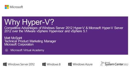 Microsoft Virtual Academy. 2 Competitive Advantages I - Core VirtualizationII - Private Cloud.