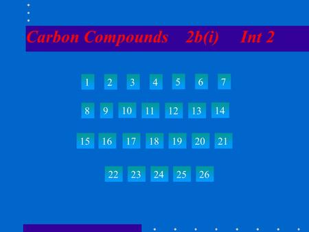Carbon Compounds 2b(i) Int 2 1234 567 89 10 111213 14 15 22 23242526 161718192021.
