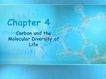 1 Chapter 4 Carbon and the Molecular Diversity of Life.
