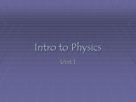 Intro to Physics Unit 1. Areas within physics Mechanics – Thermodynamics – Vibrations and waves – Optics -