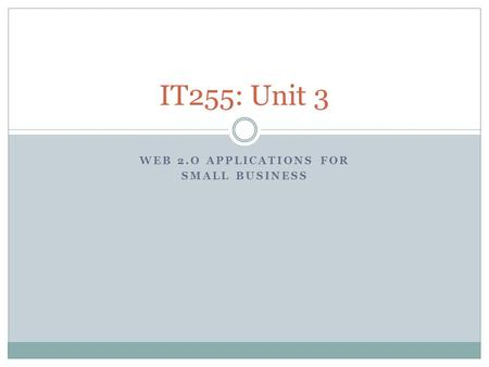WEB 2.O APPLICATIONS FOR SMALL BUSINESS IT255: Unit 3.