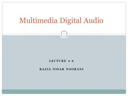 Multimedia Digital Audio