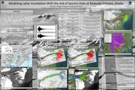 Modeling Lahar Inundation With the Aid of Seismic Data at Redoubt Volcano, Alaska Alex Iezzi, Douglas Thompson, and Beverly Chomiak Connecticut College.