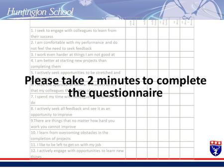 Please take 2 minutes to complete the questionnaire.
