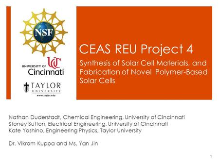 CEAS REU Project 4 Synthesis of Solar Cell Materials, and Fabrication of Novel Polymer-Based Solar Cells Nathan Duderstadt, Chemical Engineering, University.
