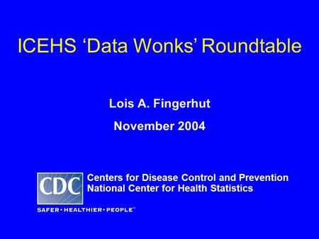 ICEHS 'Data Wonks' Roundtable Lois A. Fingerhut November 2004 Centers for Disease Control and Prevention National Center for Health Statistics.