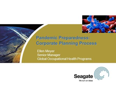 Ellen Meyer Senior Manager Global Occupational Health Programs Pandemic Preparedness: Corporate Planning Process.