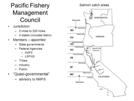 Pacific Fishery Management Council Jurisdiction –3 miles to 200 miles –4 states (includes Idaho) Members -- appointed –State governments –Federal Agencies.