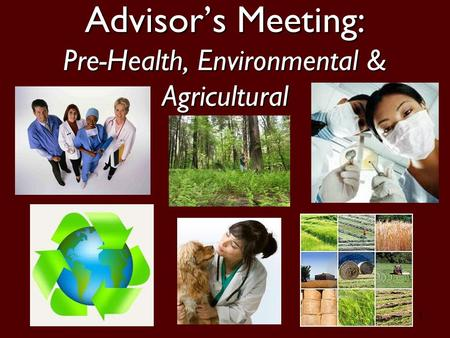 1 Advisor's Meeting: Pre-Health, Environmental & Agricultural.