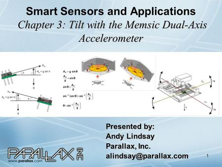 1 Chapter 3: Tilt with the Memsic Dual-Axis Accelerometer Smart Sensors and Applications Chapter 3: Tilt with the Memsic Dual-Axis Accelerometer Presented.