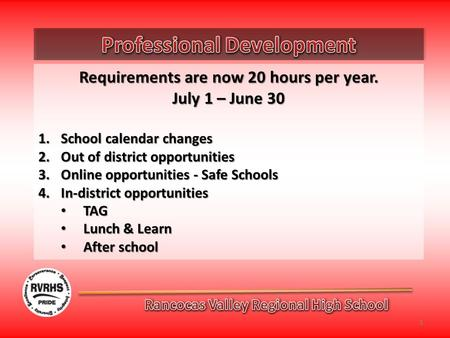 Requirements are now 20 hours per year. July 1 – June 30 1.School calendar changes 2.Out of district opportunities 3.Online opportunities - Safe Schools.