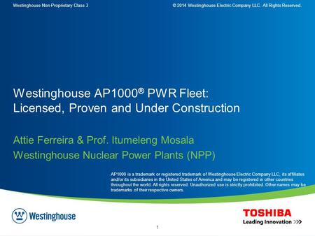 Westinghouse Non-Proprietary Class 3© 2014 Westinghouse Electric Company LLC. All Rights Reserved. 1 Attie Ferreira & Prof. Itumeleng Mosala Westinghouse.