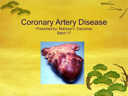 Coronary Artery Disease Presented by: Marissa V. Dacumos Batch 17.