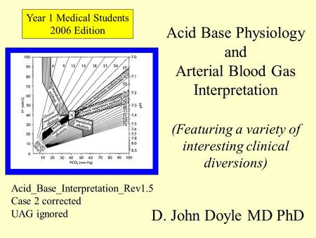 Acid Base Physiology and Arterial Blood Gas Interpretation (Featuring a variety of interesting clinical diversions) D. John Doyle MD PhD Year 1 Medical.