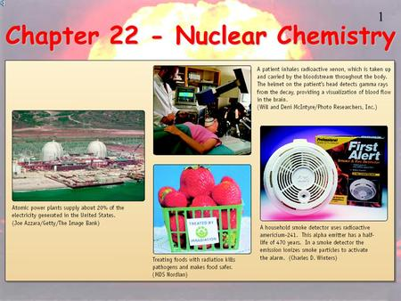 1 Chapter 22 - Nuclear Chemistry 2 3 Radioactivity One of the pieces of evidence for the fact that atoms are made of smaller particles came from the.