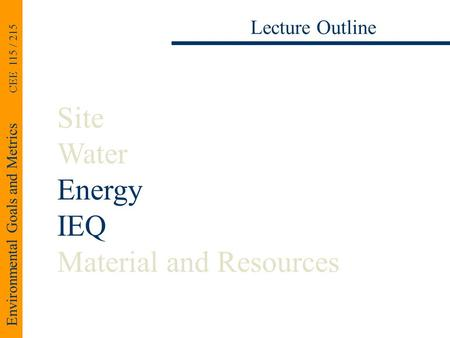Environmental Goals and Metrics CEE 115 / 215 Lecture Outline Site Water Energy IEQ Material and Resources.