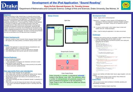 "Development of the iPad Application ""Sound Reading"" Ryan DuToit, Bennett Hansen, Dr. Timothy Urness *Department of Mathematics and Computer Science, College."